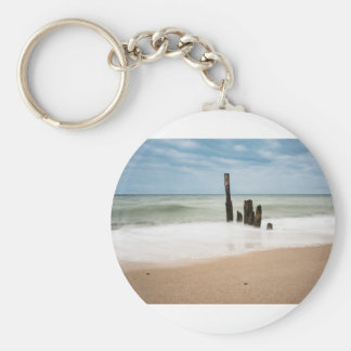 Groynes on shore of the Baltic Sea Key Ring