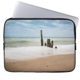 Groynes on shore of the Baltic Sea Laptop Sleeve