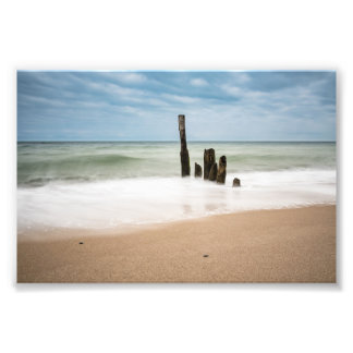 Groynes on shore of the Baltic Sea Photo Print