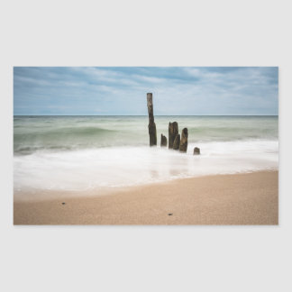 Groynes on shore of the Baltic Sea Rectangular Sticker