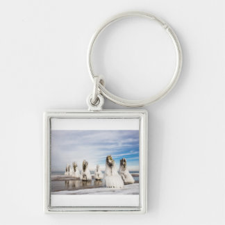 Groynes on the Baltic Sea coast Silver-Colored Square Key Ring