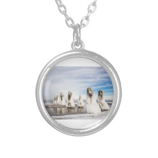 Groynes on the Baltic Sea coast Silver Plated Necklace