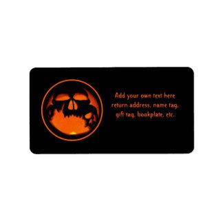 Gruesome Halloween Pumpkin Skulls Silhouette Address Label