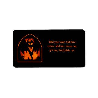 Gruesome Halloween Pumpkin Vampire Bat Silhouette Address Label