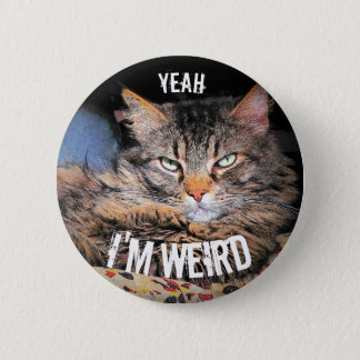Grumpy Angel, Yeah I'm Weird Cat Meme 6 Cm Round Badge