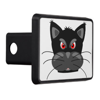Grumpy Angry Black Cat Trailer Hitch Cover