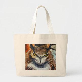 Grumpy Big Ear Owl Large Tote Bag