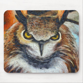 Grumpy Big Ear Owl Mouse Pad