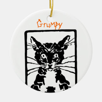 Grumpy Black Cat for the Grumpy Person or Cat Ceramic Ornament