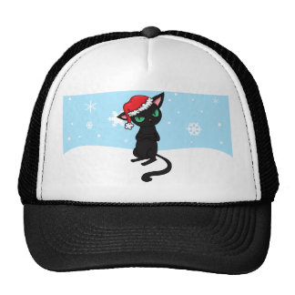 Grumpy Black Cat wearing Santa Hat