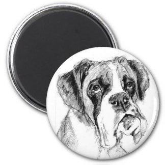 Grumpy boxer 6 cm round magnet