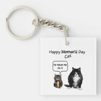 Grumpy Cat / Cute Kitten Mother's Day KeyChain