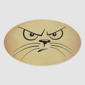 Grumpy Cat Oval Stickers