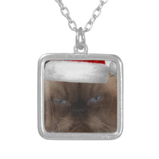 Grumpy Christmas Cat Silver Plated Necklace