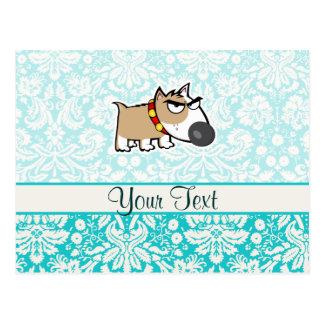 Grumpy Dog, Cute Postcard