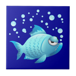 Grumpy Fish Cartoon Ceramic Tile