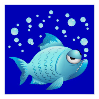 Grumpy Fish Cartoon Poster