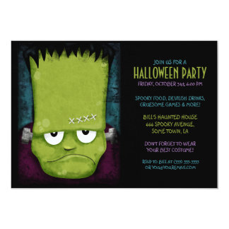 Grumpy Frankenstein's Monster Halloween Party Card