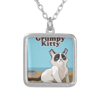 Grumpy Kitty cat Silver Plated Necklace