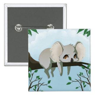 Grumpy Koala bear 15 Cm Square Badge