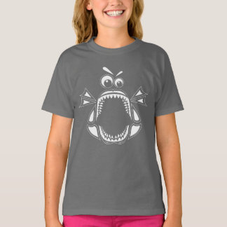 Grumpy Megalodon Girls' T-Shirt (White Print)