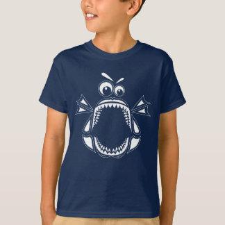 Grumpy Megalodon Kids' T-Shirt (White Print)