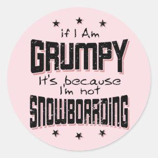 GRUMPY not SNOWBOARDING (blk) Classic Round Sticker