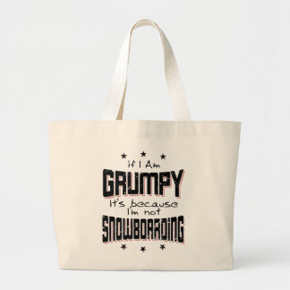 GRUMPY not SNOWBOARDING (blk) Large Tote Bag