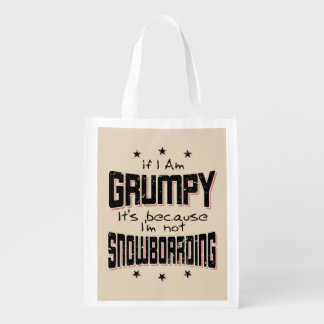 GRUMPY not SNOWBOARDING (blk) Reusable Grocery Bag
