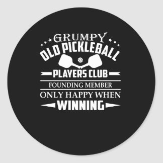 Grumpy Old Pickleball Players Club Happy Classic Round Sticker