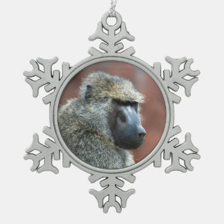 Grumpy Olive Baboon Snowflake Pewter Christmas Ornament