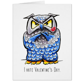Grumpy Owl Hate Valentines Day Card