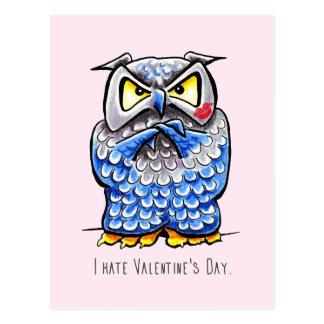Grumpy Owl Hate Valentines Day Postcard