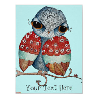 Grumpy Owl Poster for Children