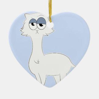 Grumpy Persian Cat Llama Ceramic Heart Decoration