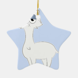Grumpy Persian Cat Llama Ceramic Star Decoration
