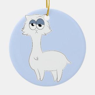 Grumpy Persian Cat Llama Round Ceramic Decoration