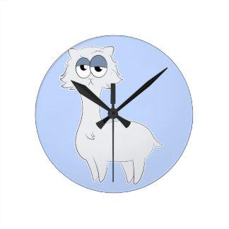 Grumpy Persian Cat Llama Round Clock