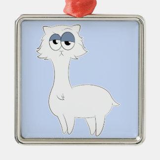 Grumpy Persian Cat Llama Silver-Colored Square Decoration