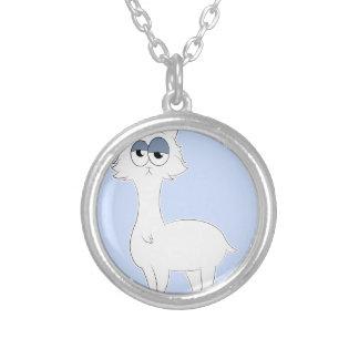 Grumpy Persian Cat Llama Silver Plated Necklace
