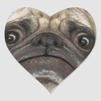 Grumpy Puggy Gifts Heart Stickers