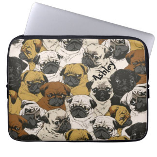 Grumpy Pugs / Funny Cute Pug Dogs Personalized Laptop Sleeve