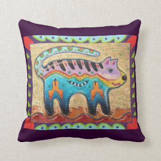 Grumpy Southwestern Folk Art Cat Throw Pillow