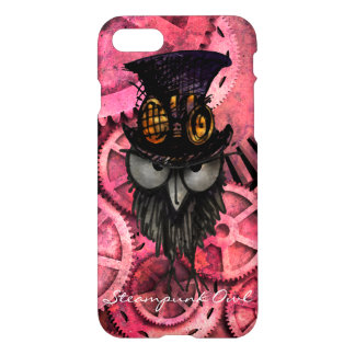 Grumpy Steampunk Owl on Pink Gears iPhone 8/7 Case
