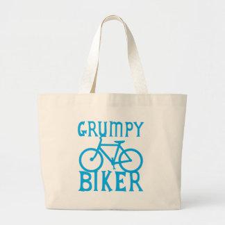 GRUMY BIKER with bicycle in blue Large Tote Bag