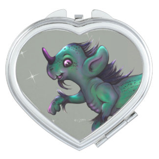 GRUNCH ALIEN CARTOON compact mirror HEART