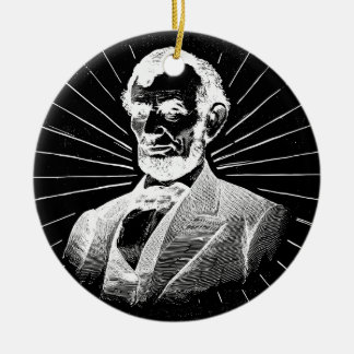 grunge abraham lincoln ceramic ornament