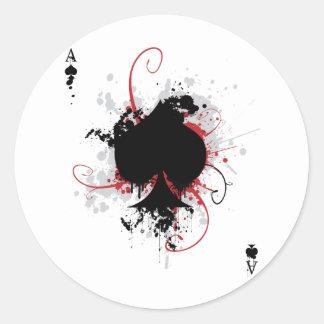 Grunge Ace Classic Round Sticker