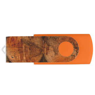 Grunge Aged Old World Map History-lover's Gift Swivel USB 2.0 Flash Drive