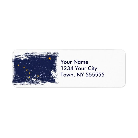 Grunge Alaska Flag Return Address Label
